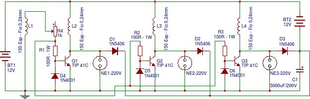 e87efc292b0 Esquema elétrico do circuito utilizado para este motor. As lampadas de 12  volts foram eliminadas.