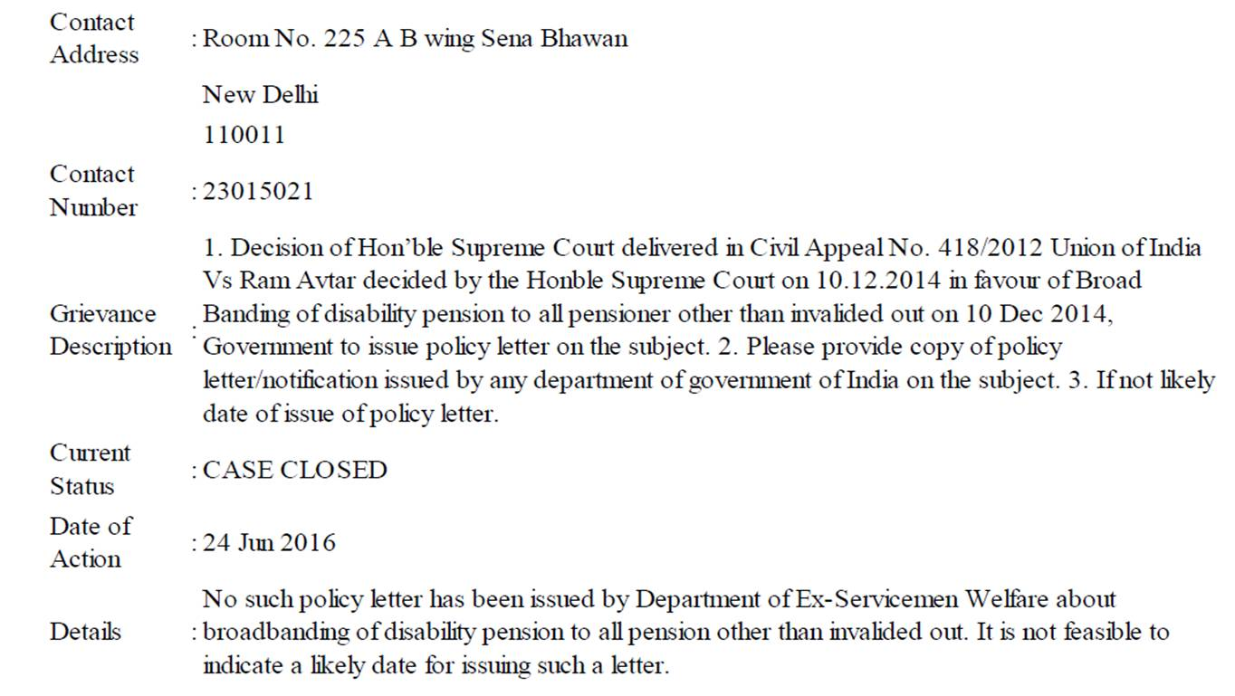 the mod reply declining any policy on broad banding of the disability other than invalidated out disabled pensioners are placed below