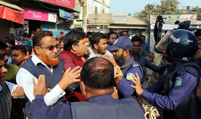BNP protest rally in Jamalpur. Clamped the police