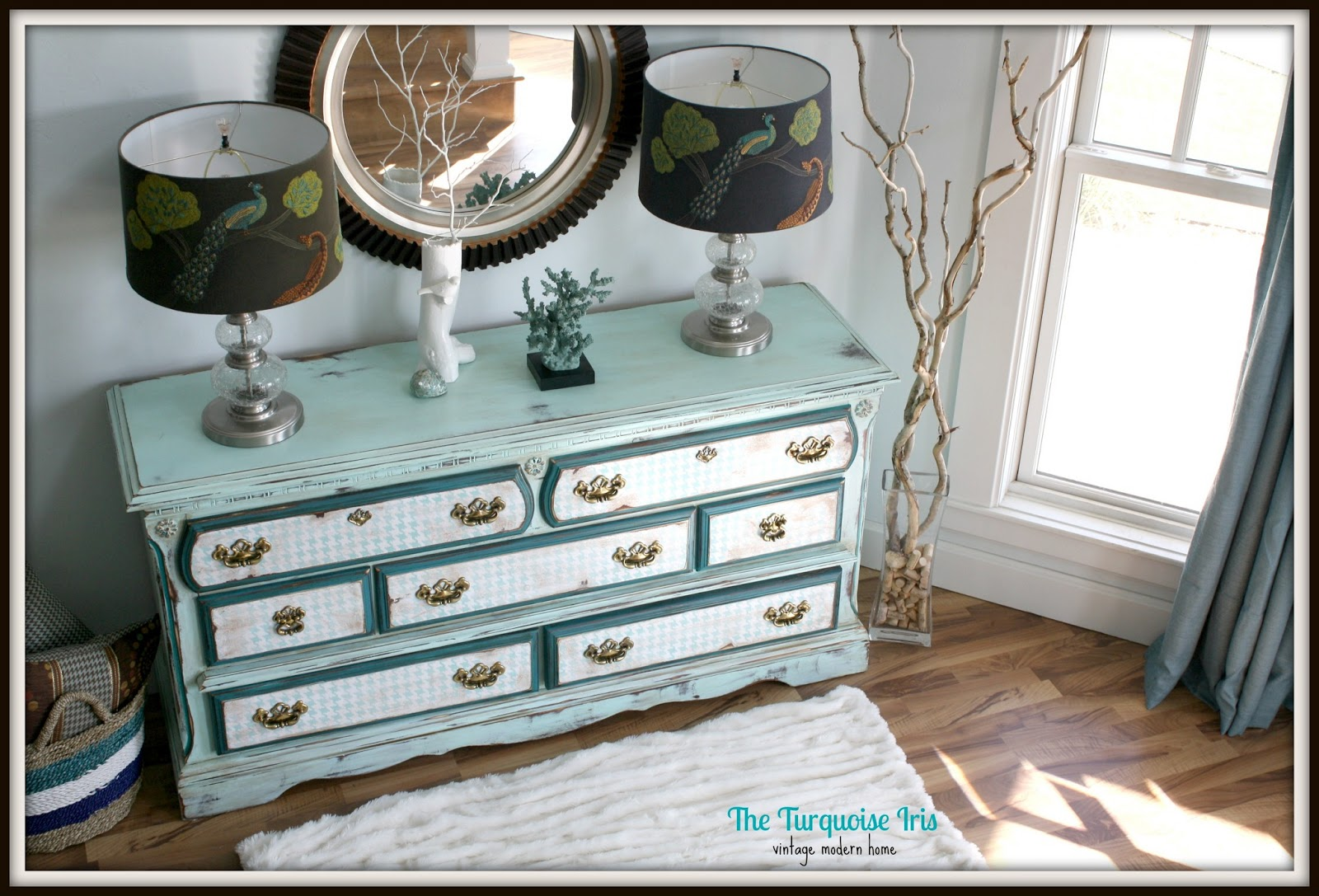 The Turquoise Iris Furniture Amp Art Hounds Tooth Dresser