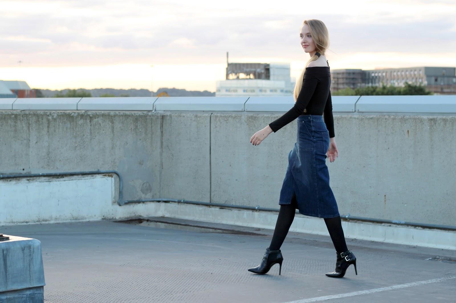 UK fashion blogger street style denim midi skirt