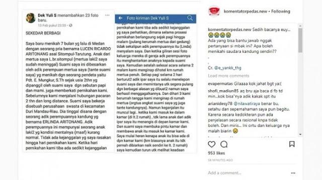 Kisah Yuli yang viral di Facebook sudah diunggah ulang di akun gosip Instagram.