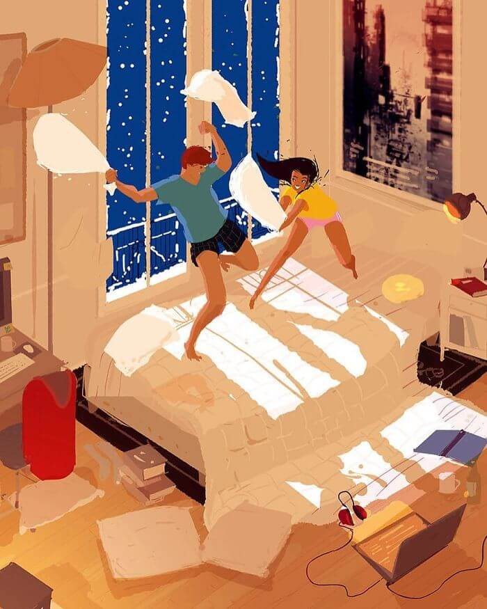 Man Creates Heartwarming Illustrations Of The Everyday Life With His Wife - Having an impromptu pillow fight