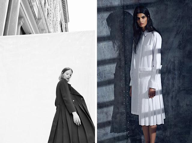 Пальто и платье с плиссировкой для драматика