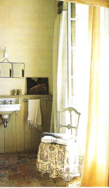 Quaint bath, French doors - Côté Ouest Fev-Mar 2005, edited by lb for linenandlavender.net
