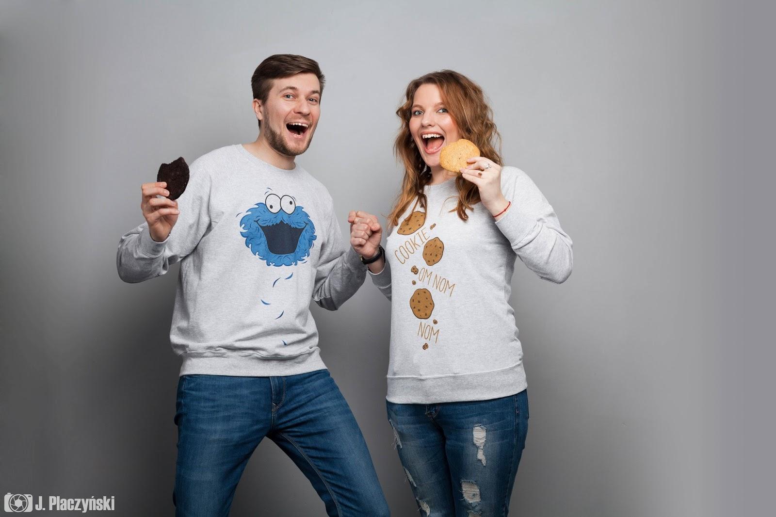 cookie monster zakochani walentynki koszulove ubrania dla par koszulki bluzy dedykowane dla zakochanych chlopak dziewczyna milosc