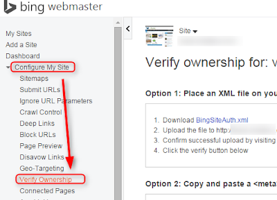 cara verify blog di bing webmaster tools