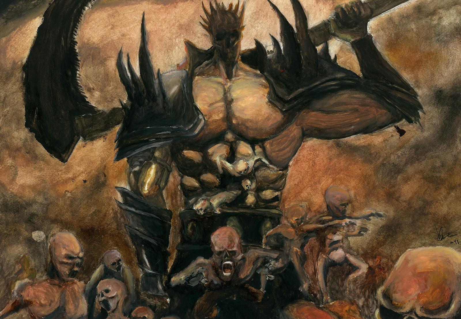 Cyberfroggy art: Demon twin paintings, schoolwork
