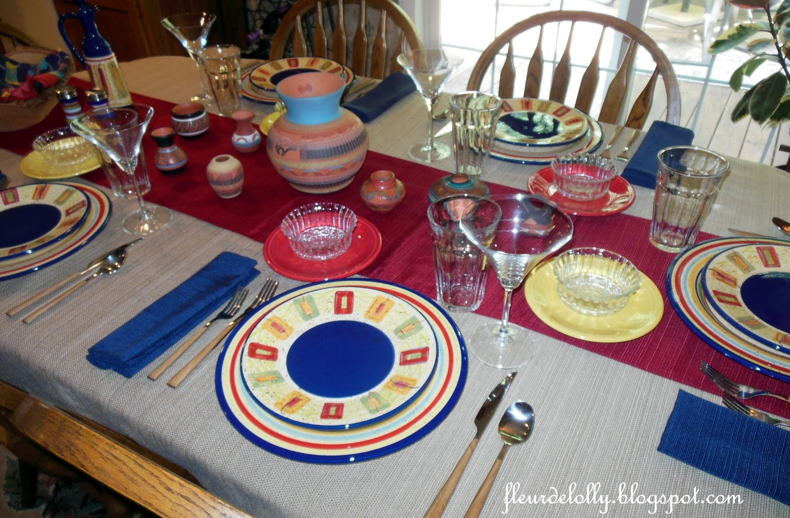 The Place Settings Are Pfaltzgraffu0027s Sedona Pattern, The Dessert Plates Are  Fiestaware, Silverware Is From World Market And Table Linens Are From  Kohlu0027s.