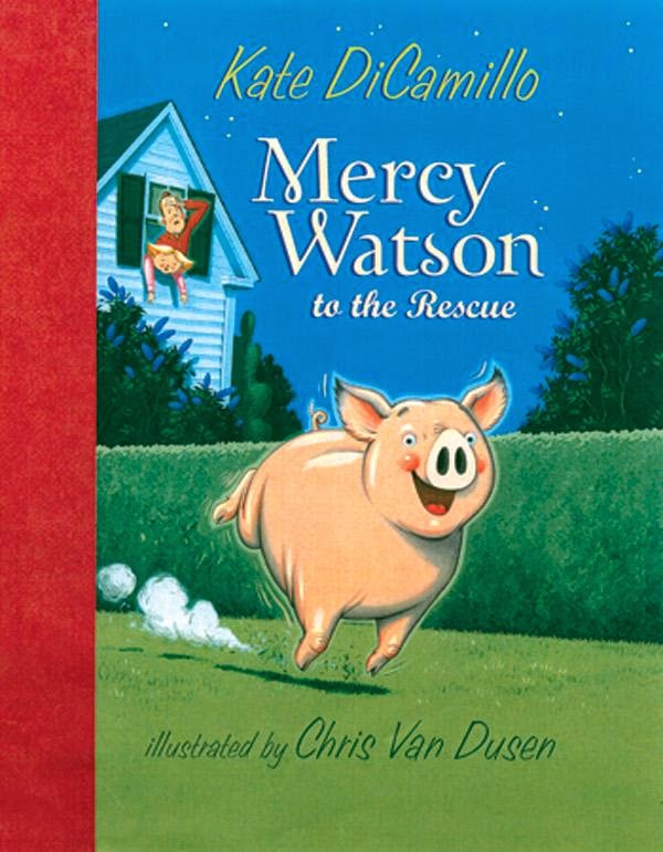 Mercy Watson to the Resuce by Kate DiCamillo is the first book of 6 in the most fabulous early reader/beginning chapter books I've ever read.  Great book for 1st and 2nd graders, or as a read aloud to Kindergarten and preschoolers.  Alohamora Open a Book http://alohamoraopenabook.blogspot.com/