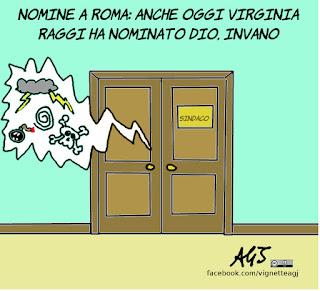 roma, nomine, raggi, giunta, municipalizzate, vignetta, satira
