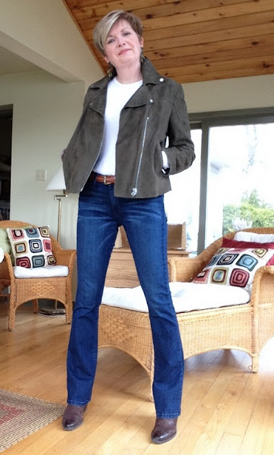 M&S Twiggy khaki suede jacket