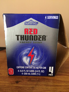 A boxed four-pack of Summit Red Thunder Energy Drink, from Aldi
