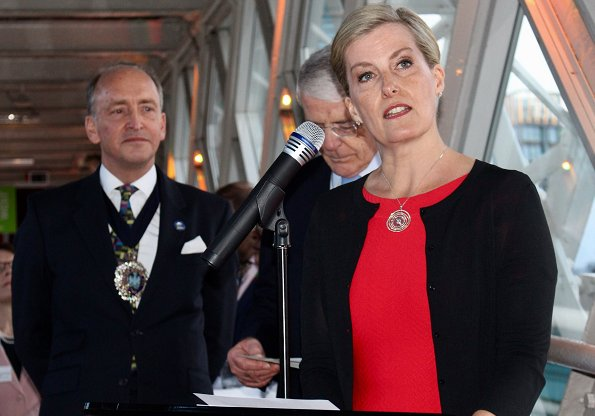 Vice-patron of Queen Elizabeth Diamond Jubilee Trust, Countess Sophie of Wessex wore Alaia Cropped knitted cardigan and Scalloped stripe knit dress