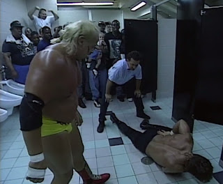 WCW The Great American Bash 1996 - Kevin Sullivan beat up Chris Benoit in the bathroom