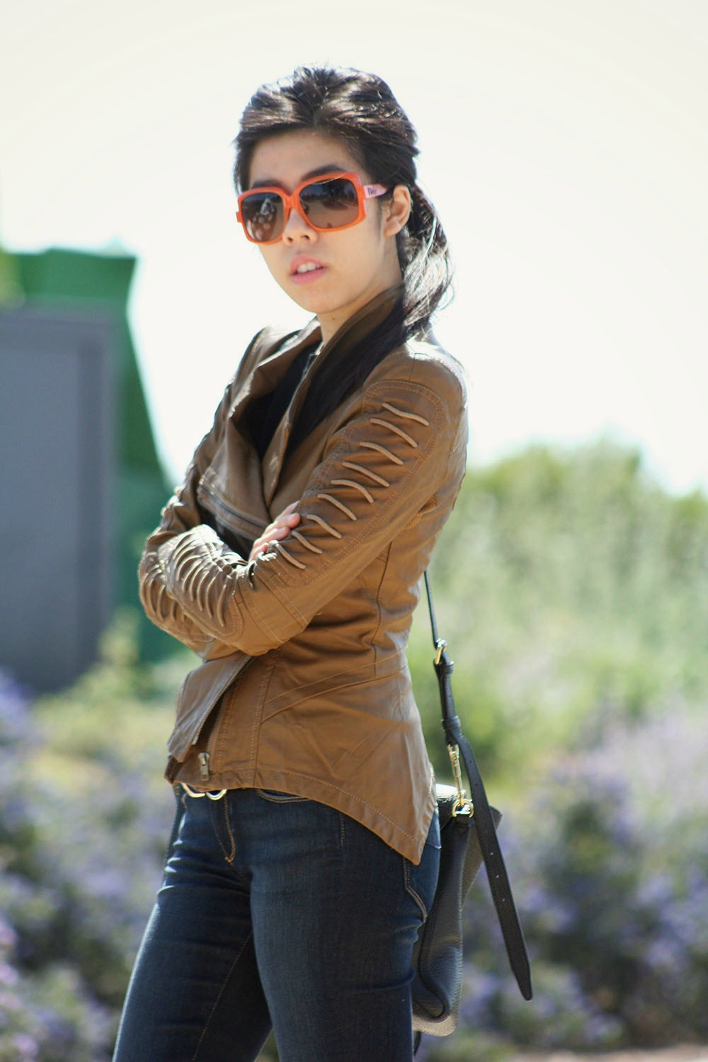 NOrdstrom Rack Motorcycle Jacket_What to wear with a jacket and jeans_Casual Outfit_French Girl Fashion_CAlvin Klein Belt_PAige Flare Jeans