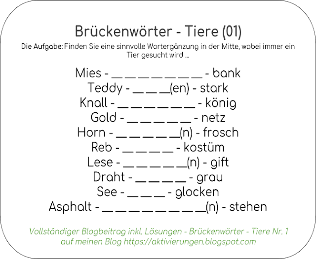 Brückenwörter Rätsel, Ratespiel, Worte einsetzen Tiere, Haustiere, Bindwort, Wortfindungen Tiere