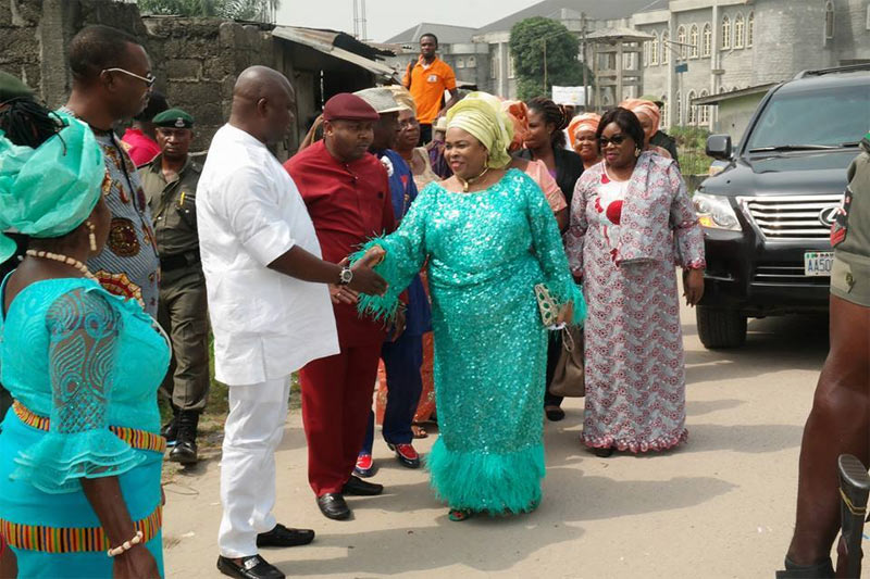 Photos: Patience Jonathan in happy mood after her house was raided by Police