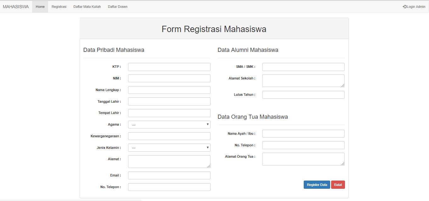 Contoh Form Login Dan Registrasi Mahasiswa Menggunakan Bootstrap Ketutrare