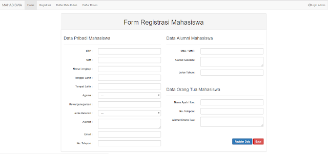 Contoh Form Login dan Registrasi Mahasiswa menggunakan Bootstrap