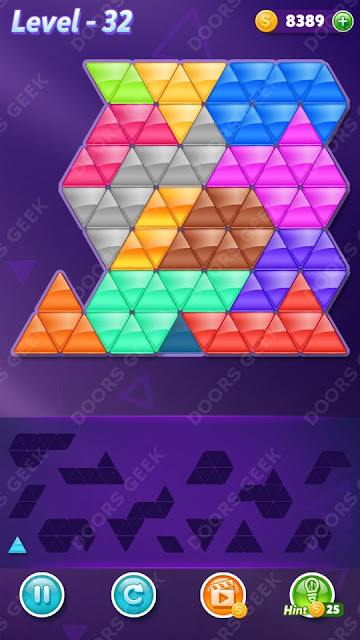 Block! Triangle Puzzle Champion Level 32 Solution, Cheats, Walkthrough for Android, iPhone, iPad and iPod
