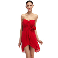 Red Short Strapless Asymmetrical Bridesmaid Dresses With Flower Detail