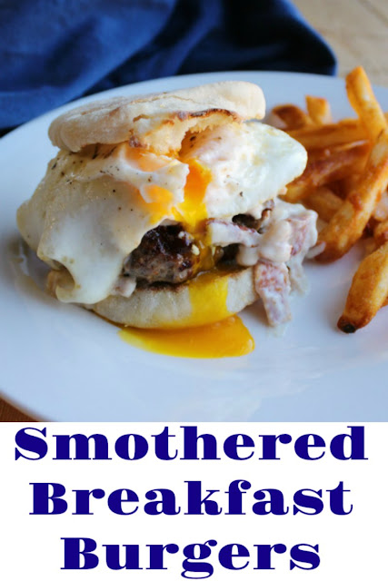 If you are a breakfast food lover, this is the burger for you! It is loaded with flavor and smothered in a creamy bacon gravy. Get your napkins ready, this is going to be good!