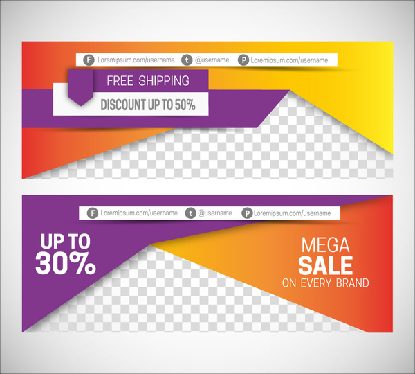 Sales promotion banners on 3d modern style background Free vector
