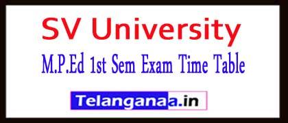 SV University M.P.Ed 1st Sem Exam Time Table