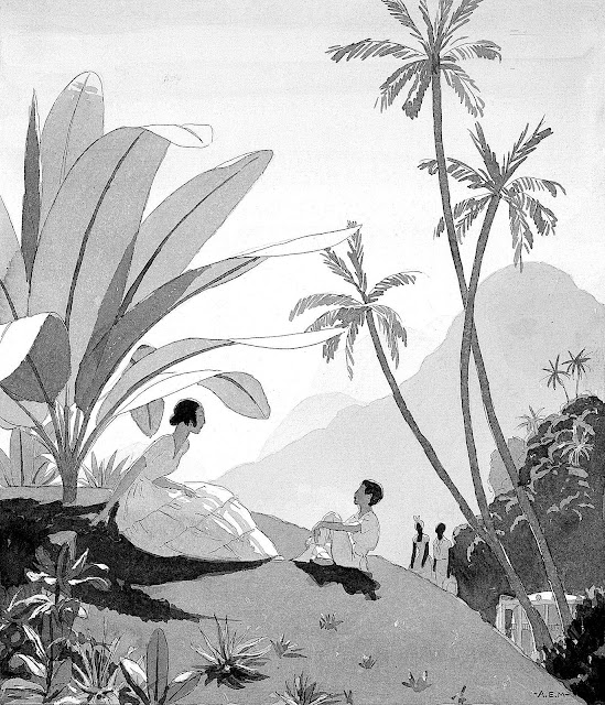an André Edouard Marty illustration of a woman and boy talking under palms