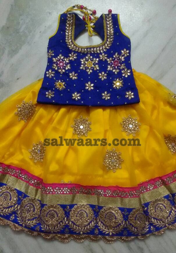 Bright Color Kundan Kids Lehenga