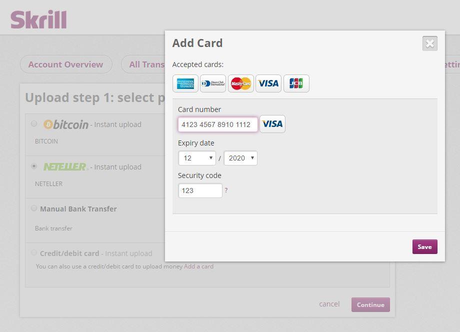 cara mengisi saldo skrill dengan credit card