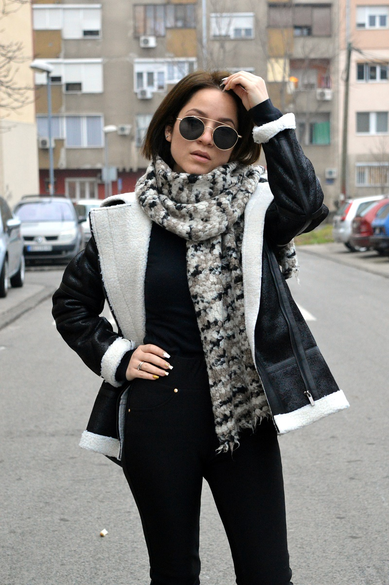 black shearling jacket zaful