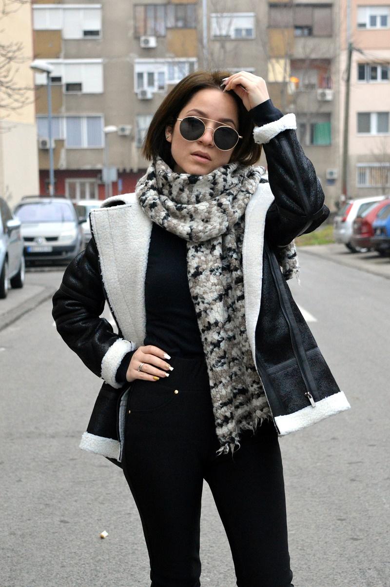 black shearling jacket zaful