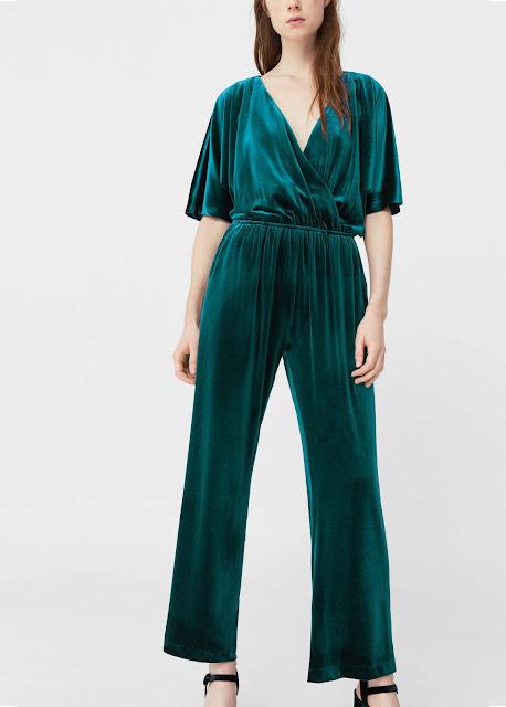 green velvet jumpsuit, mango green velvet jumpsuit,