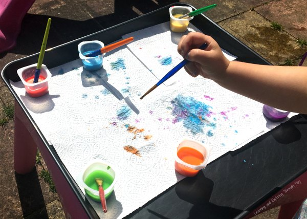 Painting with Watercolours on Paper Towels - Preschool Process Art