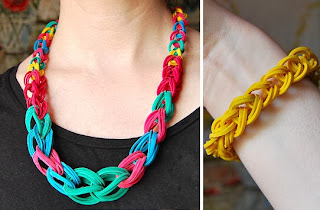 Rubber Band Chain Necklace and Bracelet