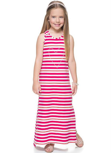 Vestido Longo Infantil Rosa Carinhoso