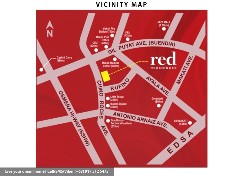 Vicinity Map - SMDC Red Residences - 2 Bedroom With Balcony | Condominium for Sale Chino Roces Makati City