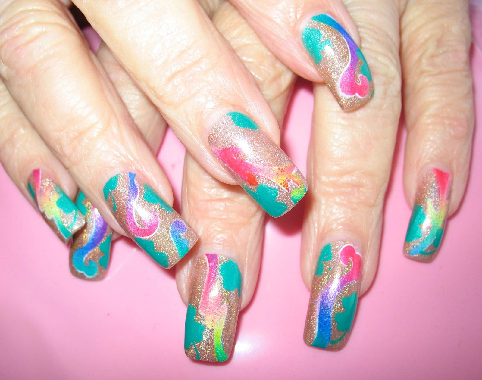 Abstract Airbrush Nail Art