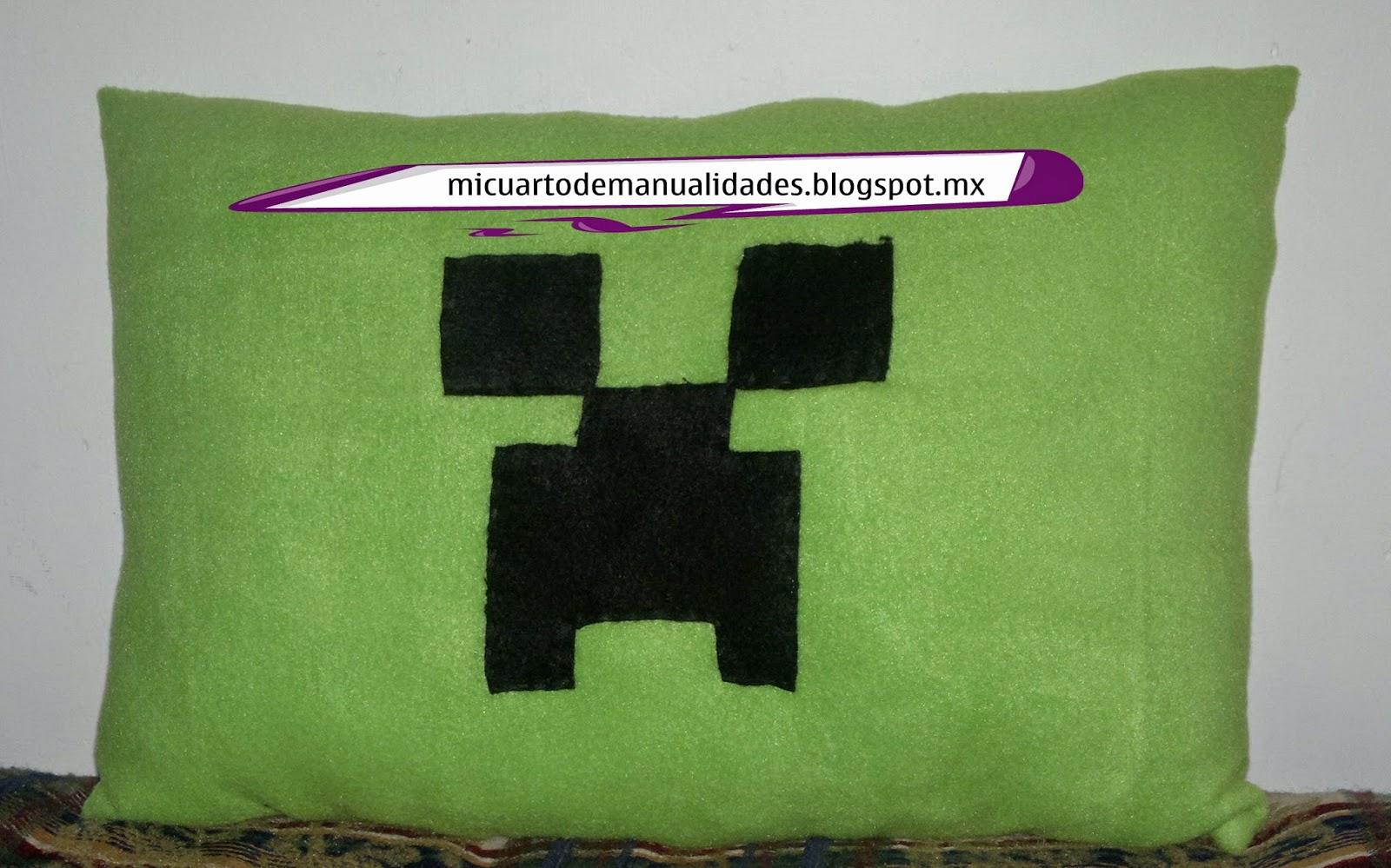 Mi cuarto de manualidades esther almohada creeper de for Cuartos decorados minecraft