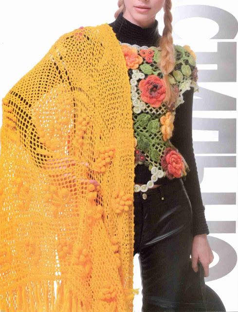 Patrón #1415: Blusa y Poncho Florales a Crochet.