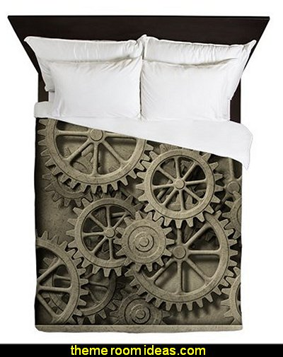 Steampunk Cogwheels Queen Duvet  Steampunk decorating ideas - Victorian punk rock style creates the steampunk theme - steam punk Industrial style decorating ideas  - steampunk gears decor - Steampunk clothes - Steampunk Costumes - Steampunk home decor