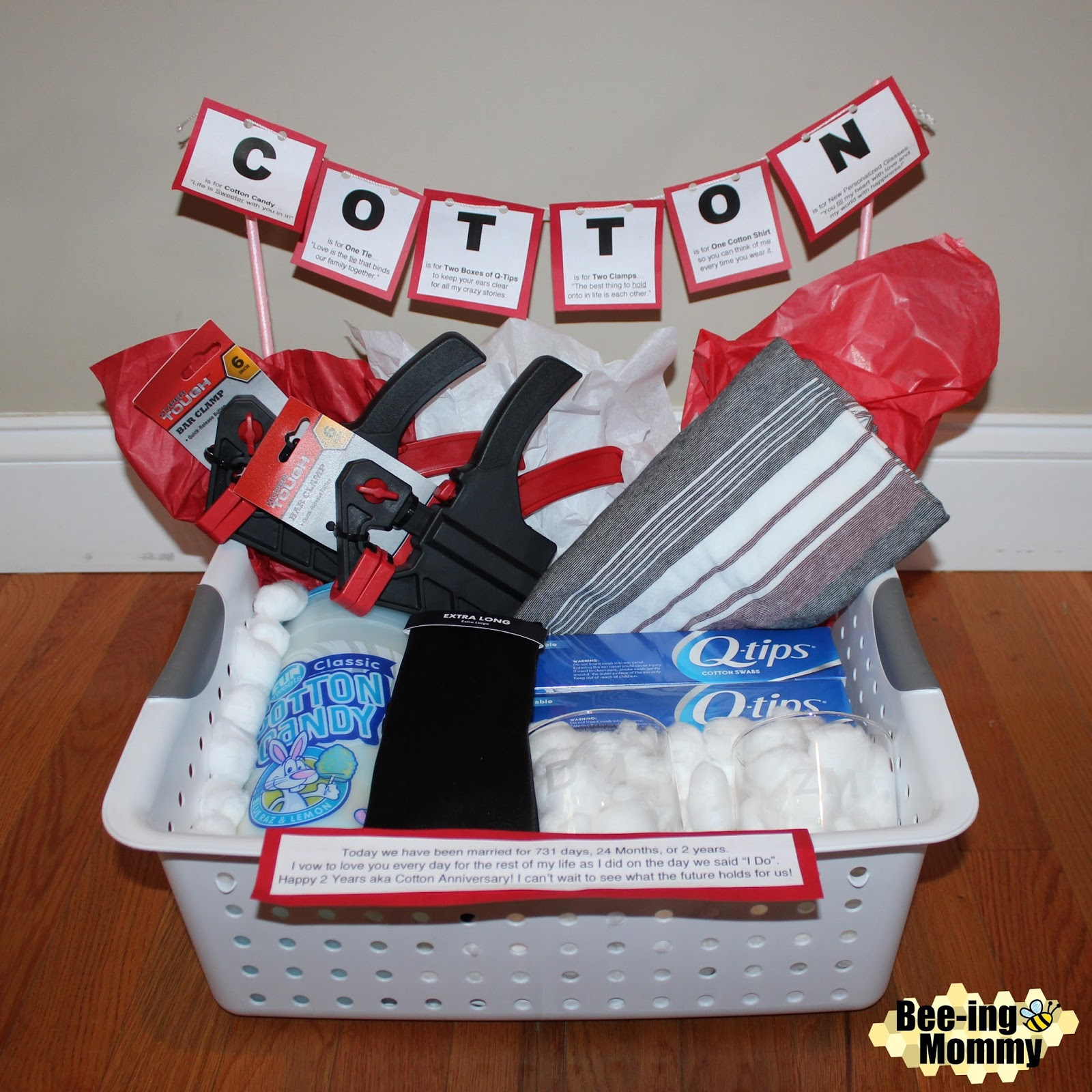 Beeing Mommy Blog Cotton Anniversary Gift Basket plus several more gift ideas for your Second