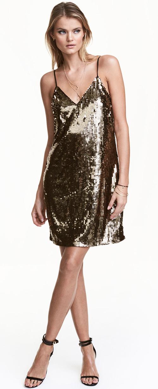 Robe courte de soirée dorée à paillettes H&M
