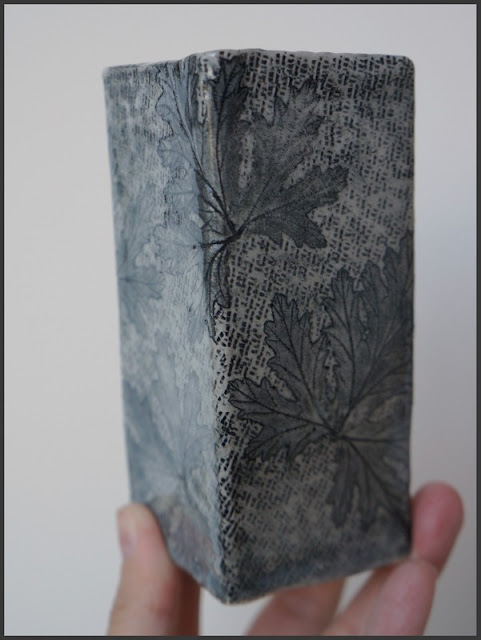 Beautiful handmade leaf imprinted totem piece - pottery by Lily L.