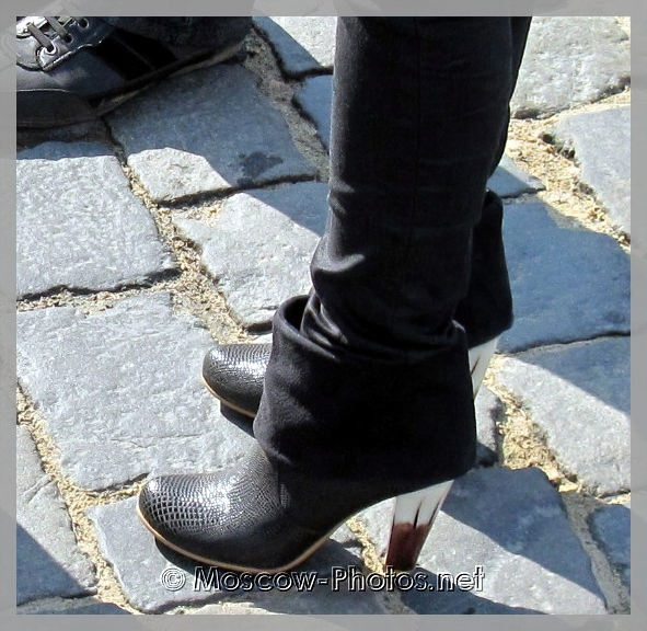 Black Boots with White Heels