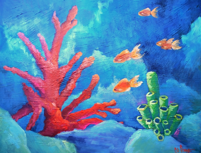 CAROL SCHIFF DAILY PAINTING STUDIO: Coral Reef Painting ...