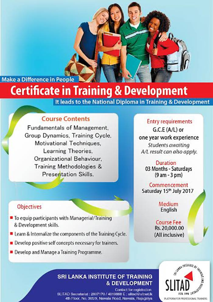 Certificate in Training & Development.