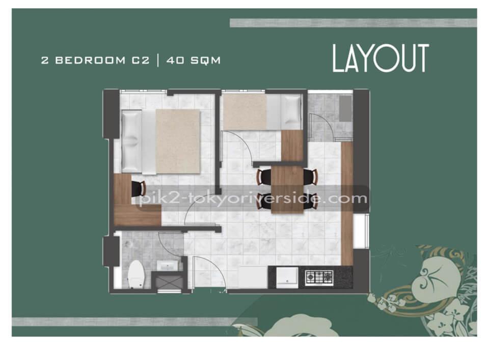Tipe 2 BR C2 Apartemen Tokyo Riverside